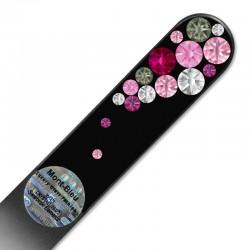 Lime à ongles noire cristaux bulles roses