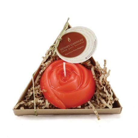 Bougie Cire d'Abeille - Rose Rouge Simple