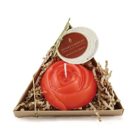 Candle Beeswax -Single Red Rose